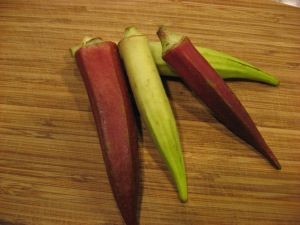 Two varieties of okra