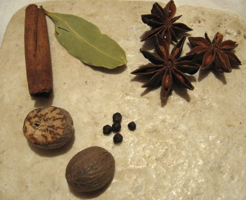 Cinnamon, bay, star anise, black pepper, and nutmeg