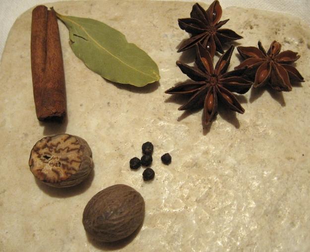 Cinnamon, bay, star anise, black pepper, and nutmeg