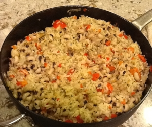 A pan of hot hoppin' john for New Years Eve