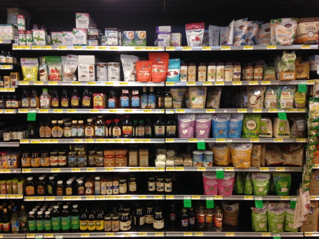 the sweetener aisle at a local health foods store