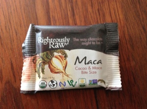 In an act of investigative journalism, I purchased and consumed this maca-laden chocolate. I couldn't tell that it did anything to me other than confirm my supposition, which I had previously formed after eating chocolate-covered kale chips, that cruciferous vegetables and chocolate do not belong together. It did benefit my romantic relationship, though, in the sense that my husband laughed at me and at the assertion on this wrapper that this is