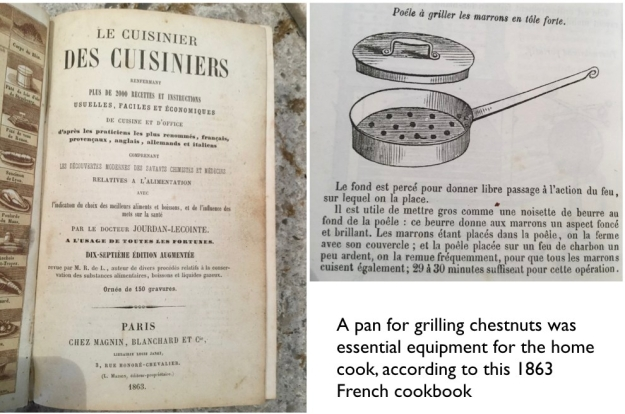 Fagaceae: Chestnut roasting pan from French cookbook